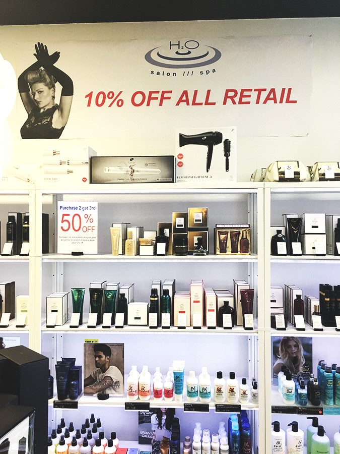 H2O Salon Spa retail area Black Friday small wall